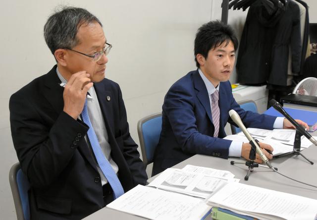 提訴後、原告弁護団は仙台市内で会見を開いた=2019年6月21日午後2時、仙台市青葉区、窪小谷菜月撮影
