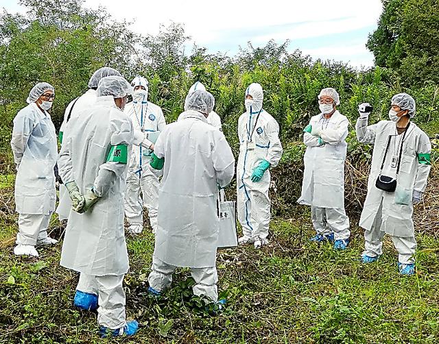 福島県双葉町内の養蜂場の現地検証に臨む防護服姿の関係者ら=2016年9月、弁護団提供