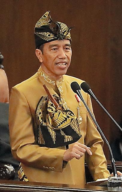 インドネシア国会の年次教書演説で首都移転を表明したジョコ大統領=16日