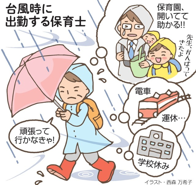 台風時に出勤する保育士