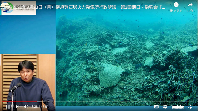 サンゴ礁の悲惨な状況を、自身で撮影した写真を使って報告するプロダイバーの武本匡弘。「もう海で仕事ができないんじゃないかと危機感が募ってます」=3月23日、ユーチューブから