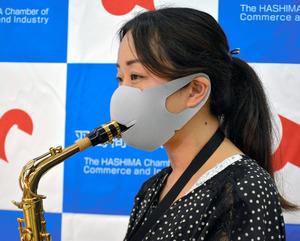 マスクに切り込み、着けたまま管楽器OK ドリンクも