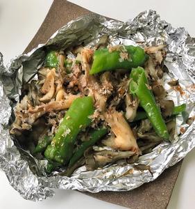 (料理メモ)甘唐辛子とマイタケのホイル焼き