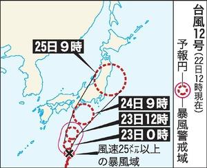 台風12号、24~25日に接近 東日本上陸の恐れも