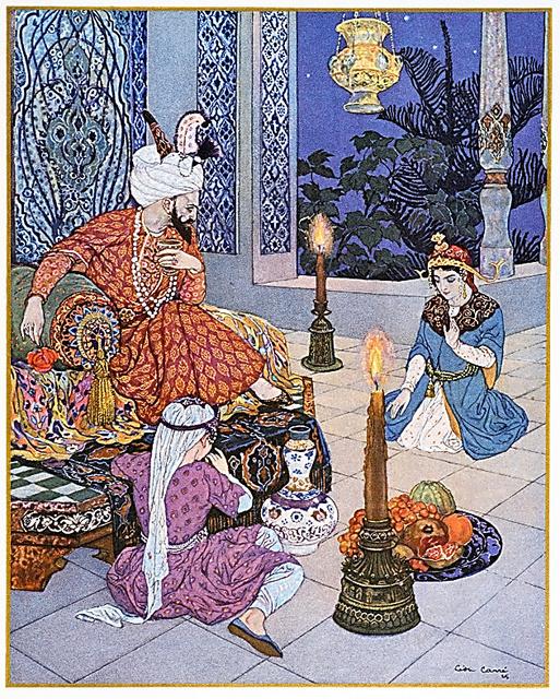 毎夜、不思議な物語をシャフリヤール王に語り聞かせるシェヘラザード。第1巻の口絵にもなっているレオン・カレの挿絵(西尾さん提供)