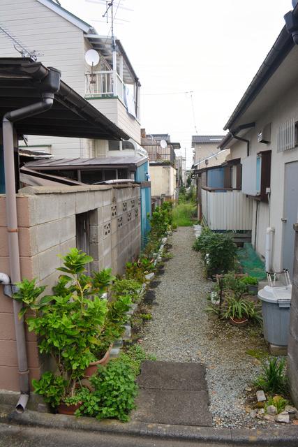 中原住宅の私有地を貫く2メートル共用通路。かつての住民の「良きしきたり」だったという=仙台市宮城野区