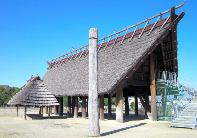 「神殿」との説もある池上曽根遺跡の大型建物と井戸