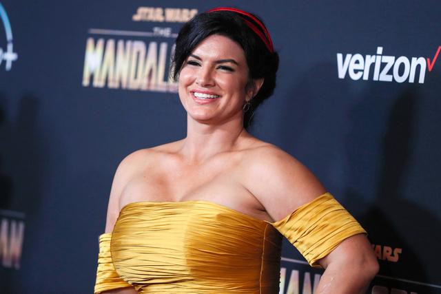 米ロサンゼルスで2019年11月、ディズニープラス配信「マンダロリアン」のプレミアに出席するジーナ・カラーノ=AP