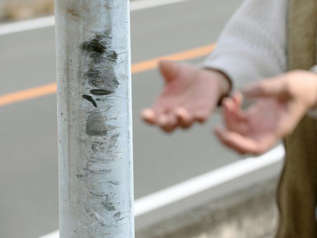 藍野美佳さんが通勤中に衝突した標識柱=2020年12月23日、広島県内、上田潤撮影