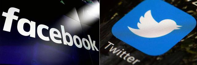 フェイスブックとツイッターのロゴ=AP