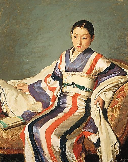 小磯良平「着物の女」(1936年、神戸市立小磯記念美術館蔵)