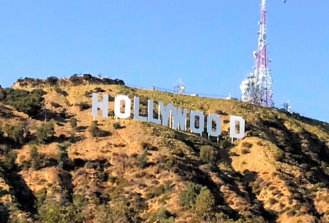 ハリウッドの象徴的存在、ハリウッドサイン=2019年8月、藤えりか撮影