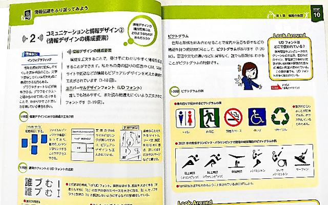 見開きのページで1コマの授業になるよう工夫した開隆堂出版の「情報1」の教科書