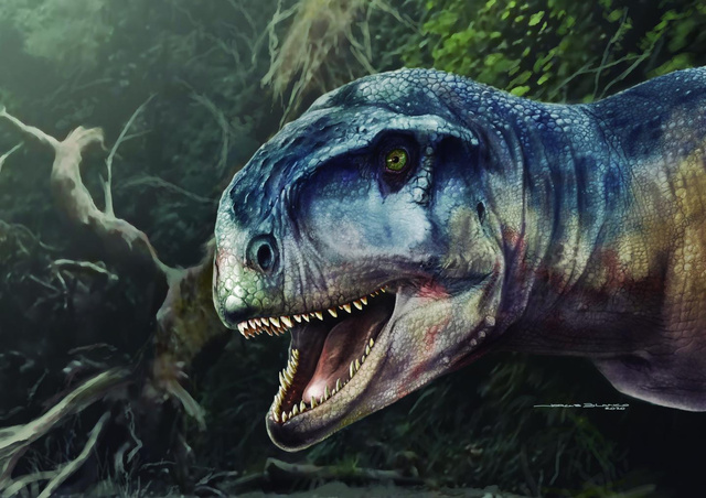 「恐怖を与える者」と名付けられた新種の恐竜のイメージ=古脊椎(せきつい)動物学誌など提供