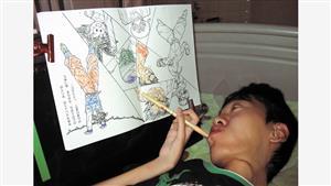 右手にペンをもち、唇のわずかな動きで塗り絵をする高校時代の佐藤仙務さん=本人提供
