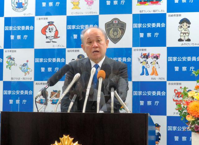 就任会見で質問に答える中村格・警察庁長官=2021年9月22日午後、東京・霞が関の警察庁、田内康介撮影