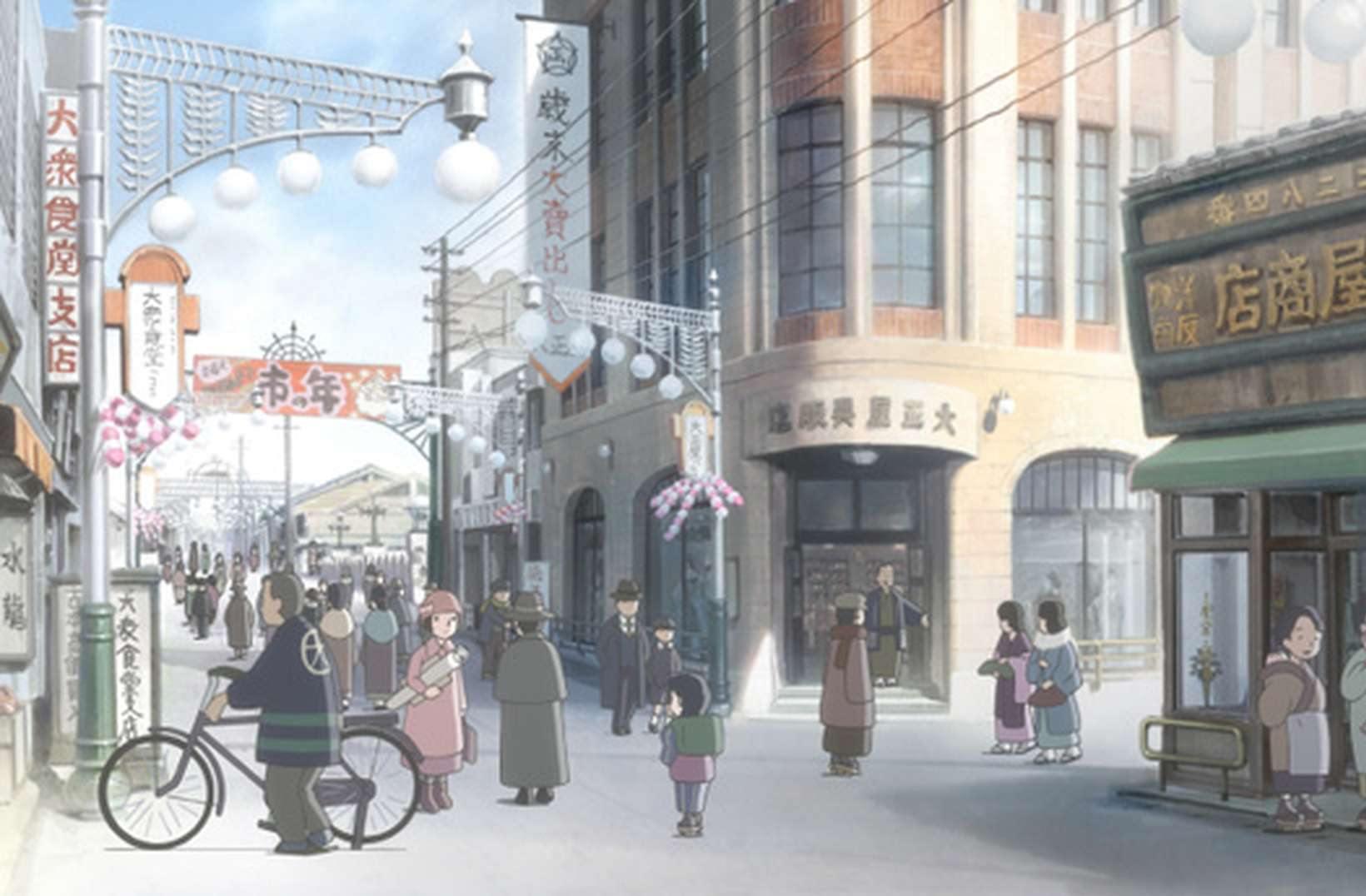 作品で描かれた広島市の中島本町。中央の大正屋呉服店は、現在も建物が残る(C)こうの史代・双葉社/「この世界の片隅に」製作委員会