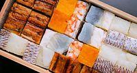 52)酢と大阪寿司:吉野寿司の箱寿司。切りそろえ、ぴったりと詰められた寿司が格子状の美しい模様を作り出す=大阪市中央区