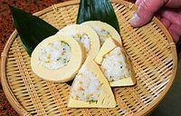 8)京都のタケノコ:出来上がった竹の子姿ずし=京都府長岡京市の「うお寿」、戸村登撮影