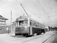 京都市電が導入した新形の900型電車907号の試運転=1955(昭和30)年撮影。ナニワ工機製