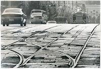 1978年9月30日限りでの全線廃止を控え、京都市電外周線の22号系統(烏丸車庫循環)が最後の活躍を続けた=1978年撮影