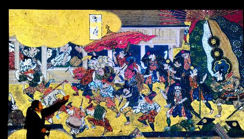 写真:「洛中洛外図屏風 舟木本」のバーチャルリアリティー映像。本来の顔の大きさは1センチ弱だが、等身大まで引き伸ばしても画像は鮮明だ=東京国立博物館、戸村登撮影