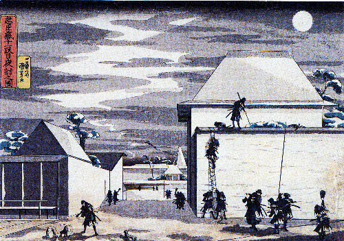 写真:歌川国芳「忠臣蔵十一段目夜討之図」1830~33年ごろ、大判錦絵=川崎・砂子の里資料館蔵、太田記念美術館で展示中