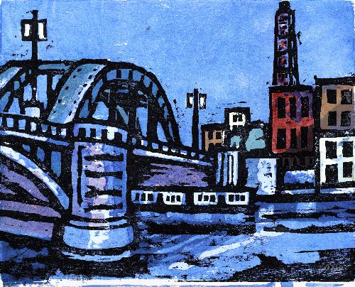 写真:小野忠重「隅田川ノ橋(駒形橋)」(1933年ごろ、木版画)