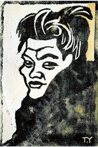写真:萬鉄五郎「芸術座の人」(1913年ごろ 木版・紙 岩手県立美術館蔵)