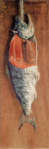 写真:高橋由一「鮭」(1877年ごろ、重要文化財、東京芸術大学蔵)