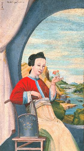 写真:司馬江漢「円窓唐美人図」(1789〜1801年、府中市美術館蔵)