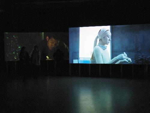 写真:2面スクリーンに投影される文敬媛&全濬晧(韓国)の映像作品