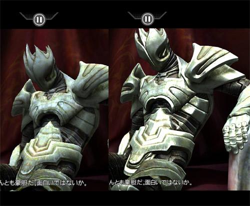 写真:画像3:iPad用ゲーム「Infinity Blade」(700円)を、iPad(左)とiPad 2(右)で比較。ほぼ同じシーンなのだが、キャラクターの質感や立体感がまったく異なる点に注目