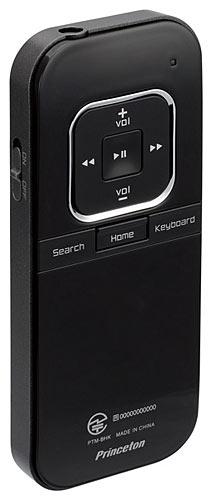 写真:画像7:iBOW mobileの背面。音楽/映像再生コントロール用のボタンなどが並ぶ。内蔵バッテリーで動作する