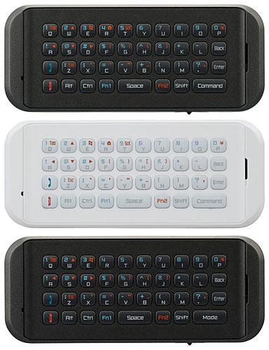 写真:画像6:プリンストンの「iBOW mobile」(実勢価格8000円)。iPhone、iPad用のPTM—BHKIB(上、黒)と同BHKIW(中央、白)、アンドロイド端末用のPTM—BHKAN(下、黒のみ)。前面がキーボードで背面が各コントローラになっている