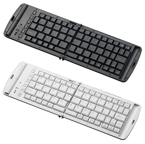 写真:画像1:エレコムのiPhone、iPad用キーボード「TK—FBP028E」(実勢価格9000円<税込み>)。白(WH)と黒(BK)の2色がある。キー配列は英語。単4乾電池2本で動作