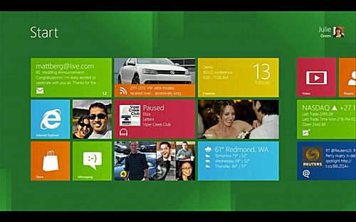写真:画像1:ウィンドウズ8(仮称)で搭載される新操作体系「Metro」。スマートフォン向けOS「Windows Phone」と操作面が統一されており、シンプルで素早い操作ができるのが特徴