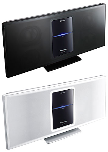 写真:画像5:パナソニックのコンパクトステレオシステム「SC—HC05」(実勢価格1万6000円)。黒と白の2色がある。スタンドに乗せて使えるiPhone/iPod専用スピーカーは多くのメーカーから発売されているが、Bluetoothにも対応する機種は少ない