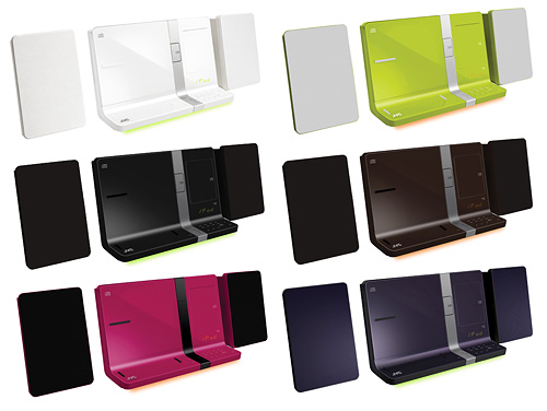 写真:画像4:日本ビクターのiPod対応オーディオシステム「UX—VJ5」(実勢価格2万4000円)。収納式の2つのドックコネクタでiPhoneの横置きや、iPadの接続にも対応する個性派。デザインもユニーク。白、黒、ピンク、茶、紫、緑の6色がある。CD、FM/AMラジオ、USBメモリーに保存したMP3やWMAなどの音楽再生にも対応