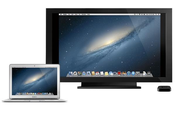 写真:画像6:Mountain Lionより、マックでも「AirPlayミラーリング」の利用が可能に。Apple TVと連携して、テレビへ簡単にマックの画面を表示できるようになる(アップル提供。開発中のプレビューバージョン(英語版)の画像です。実際の製品とは異なる場合があります)