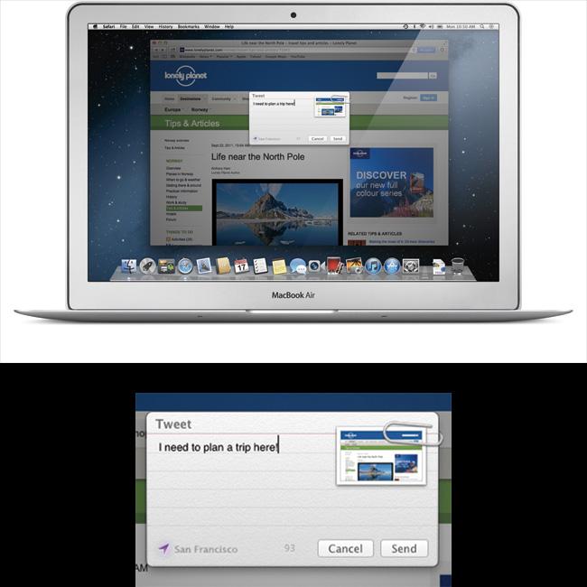 写真:画像5:Mountain Lionに組みこまれたTwitter連携機能を使い、見ているウェブの情報を簡単に「つぶやく」ことができる。下は画面を拡大表示したもの(アップル提供。開発中のプレビューバージョン(英語版)の画像です。実際の製品とは異なる場合があります)