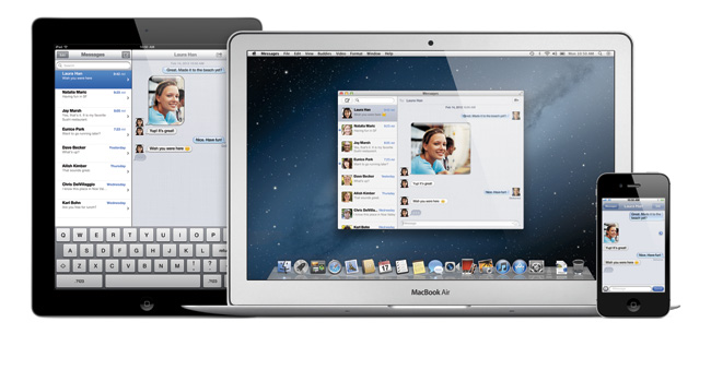 写真:画像2:iOSの「iMessage」と連携する「Messages」。iChatの後継となるアプリケーションで、iPhone、iPadなどとリアルタイムでのメッセージ交換を実現する(アップル提供。開発中のプレビューバージョン(英語版)の画像です。実際の製品とは異なる場合があります)