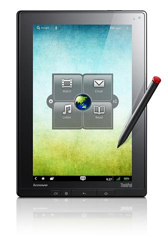 写真:画像2:レノボの「ThinkPad Tablet」。無線LAN専用の16GBモデルは直販価格は4万7040円。32GB(5万4390円)、64GB(6万1950円)のモデルもある。ただし、電子ペンは別売り(3990円)