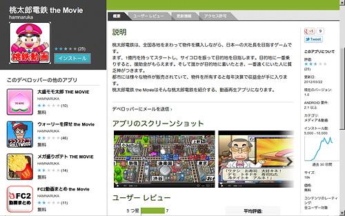 写真:画像1:アンドロイド公式のアプリ配布元「グーグル・プレイ」で配布されていた不正アプリのひとつ「桃太郎電鉄 the Movie」の紹介画面。画面左下を見ると、同一作者が類似のアプリを多数公開していたことが分かる。いずれも、日本でよく知られたゲーム、キャラクター、サービス等をかたったもので、オリジナルのゲームやサービスとは関係ない。すでにグーグル・プレイから削除されている