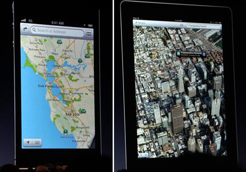 写真:画像6:新しい「Map」の2D表示(左)。以前よりスピードなども増しているという。航空写真を使った、とてもリアルな「3D」マップも実現(右)。これがリアルタイムで、グリグリと回る(撮影:西田宗千佳)