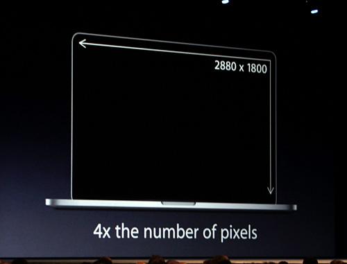 写真:画像3:新しいMacBook Proには、解像度が縦横2倍になった「Retinaディスプレイ」が搭載(撮影:西田宗千佳)