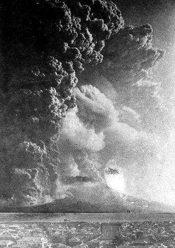 20世紀以降、国内で最大の噴火となった桜島噴火=鹿児島県立博物館提供