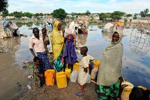 水につかった小屋も=10月31日、ソマリア・モガディシオ、中野智明氏撮影