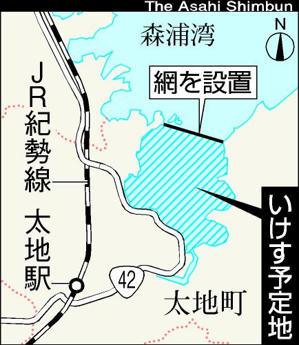 図:和歌山県太地町の森浦湾のいけす予定地