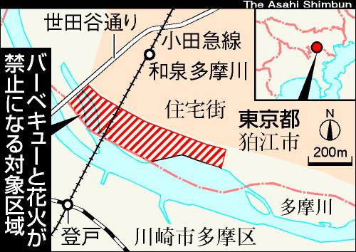図:東京都狛江市のバーベキュー禁止エリア